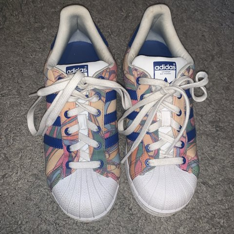 963638d7d54e very cute and fun adidas printed superstar sneakers. clean a - Depop