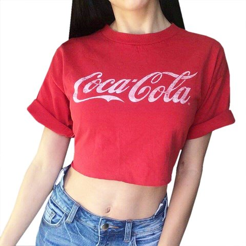 8a355132589a4c Raw hem cropped Coca-Cola tee!❤ classic bright red with no - Depop
