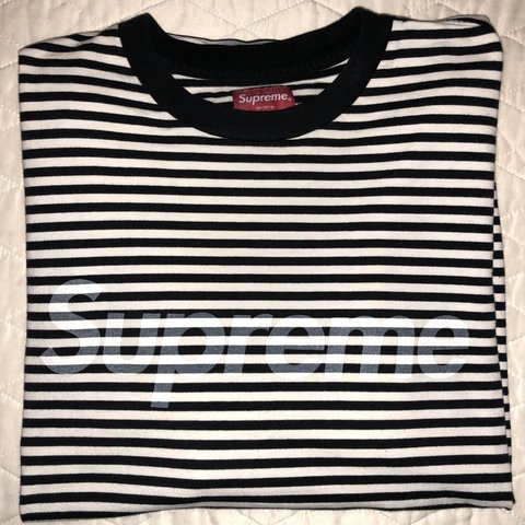 Indicuds 2 Months Ago New York United States Supreme Striped Logo Long Sleeve Tee