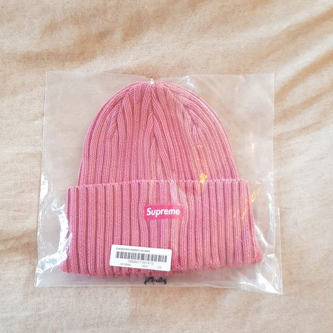 fba883dc587 Supreme SS18 week 1 overdyed ribbed beanie washed magenta to - Depop