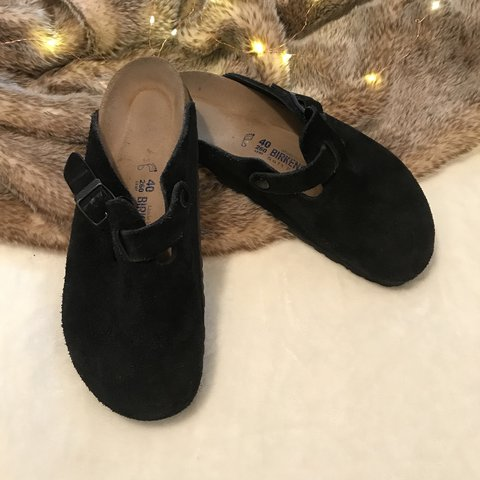 0f87d9ab3a4b Birkenstock Boston Suede Leather Black Clogs EU size 40 + - Depop