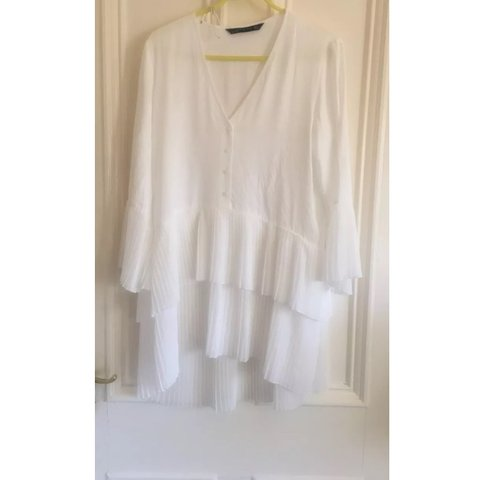 5577cff21e Zara white frill dress. Sold out everywhere size Small - Depop