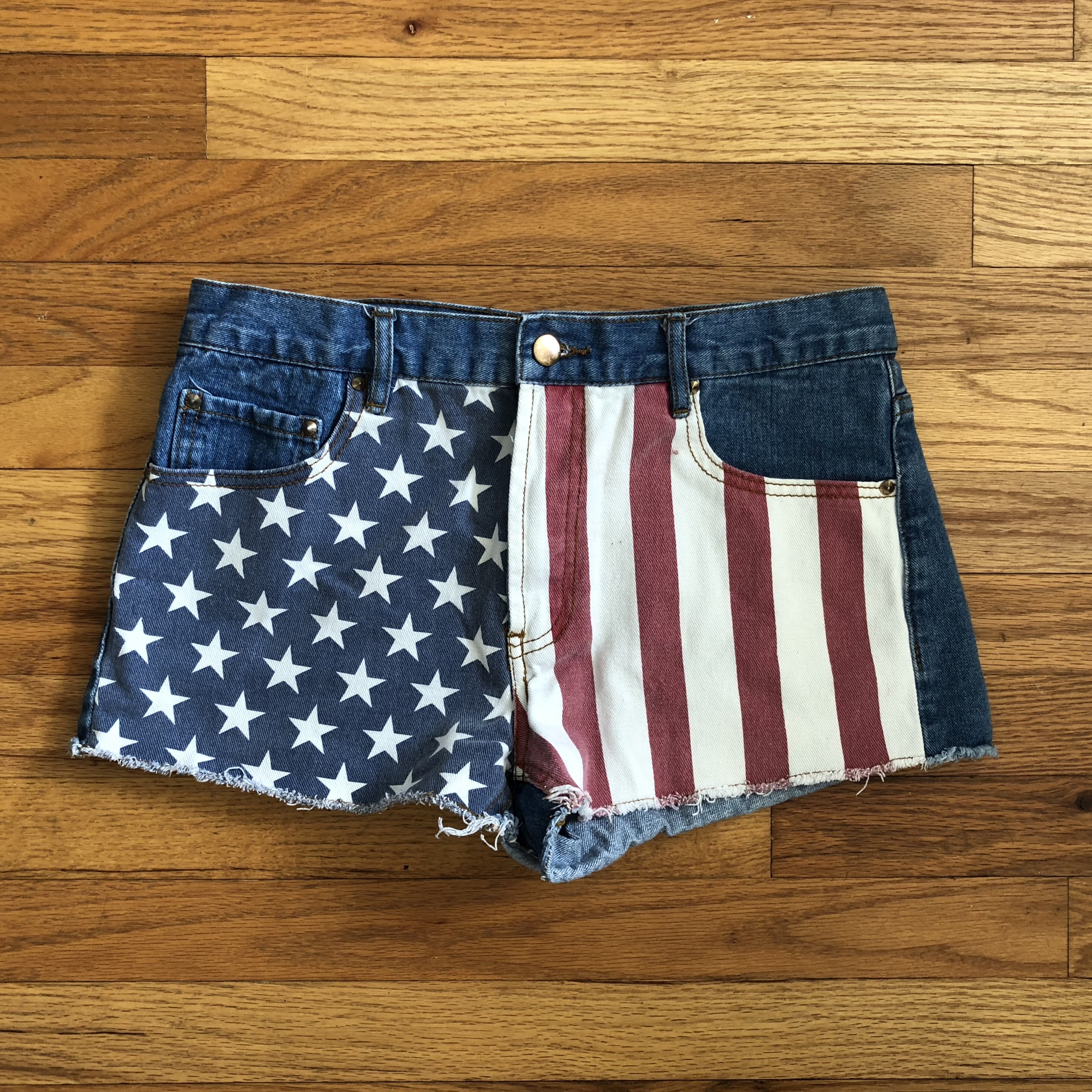 879caa09ab01 Patriotic jean shorts America flag design on front