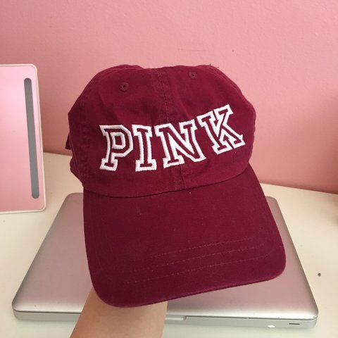 5724d8c70d6f0 PINK VICTORIA S SECRET ADJUSTABLE BASEBALL CAP MAROON - Depop