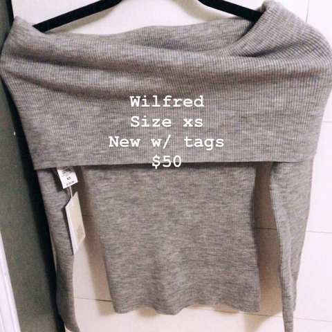 3613ca91c2f Aritzia Wilfred grey off shoulder sweater Size xs New with - Depop