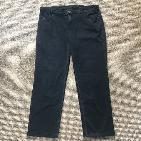 5befee11c30 Plus size ladies straight leg black jeans. The label has cut - Depop