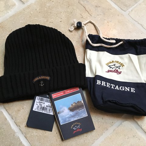 e073c8bf Paul & Shark Bretagne Beanie Hat Black Brand new with Tags & - Depop