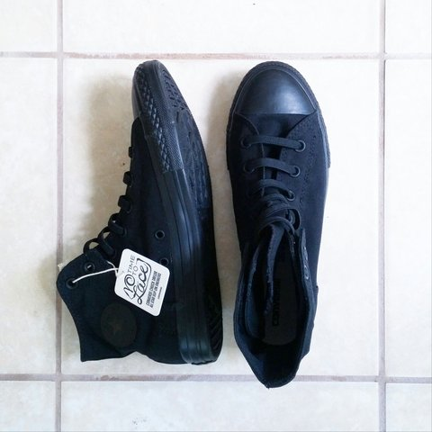 "73900c959fdb38 No Time To Lace""   Black High Top Converse Chuck Taylor - Depop"