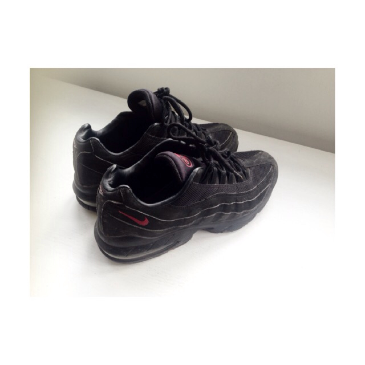 Air Max 95 All Black with Red Tick and logo detail Depop