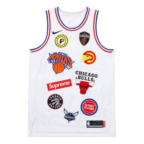 Supreme Nike NBA Teams Authentic Jersey – White – Large (48) - Depop a6fce6c41