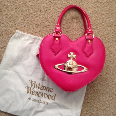 0f956805cb 100% Genuine Vivienne Westwood pink heart shaped bag with a - Depop