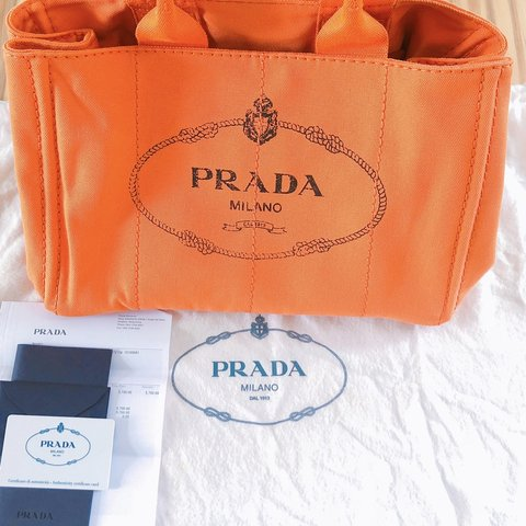 29d5efcd3b4e 🍊Prada orange color tote bag . Good condition Made in in - Depop