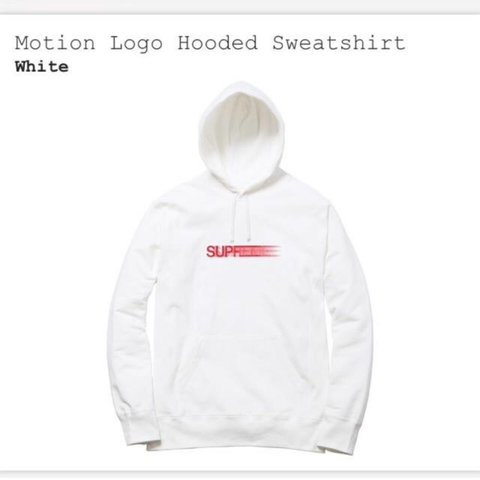 70b5acdfbf65 Supreme SS16 White Motion Logo Hoodie For Sale. Sold out DM - Depop