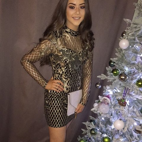 24d48a7af00 ✨Long sleeve bodycon black and gold sparkly embroidered wore - Depop