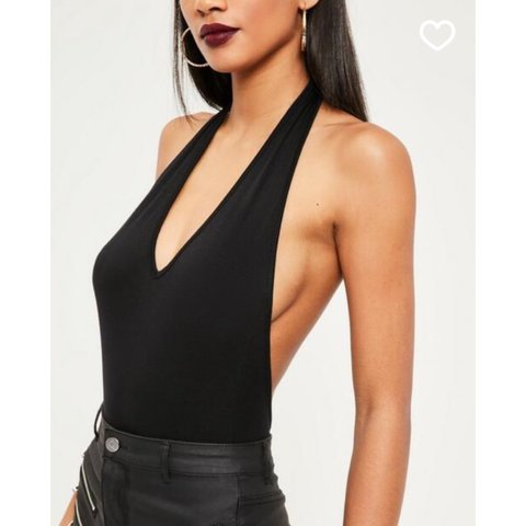 62cc390acb99 @sophieboag. 2 years ago. Twickenham, United Kingdom. Missguided deep  plunge halter neck bodysuit black.