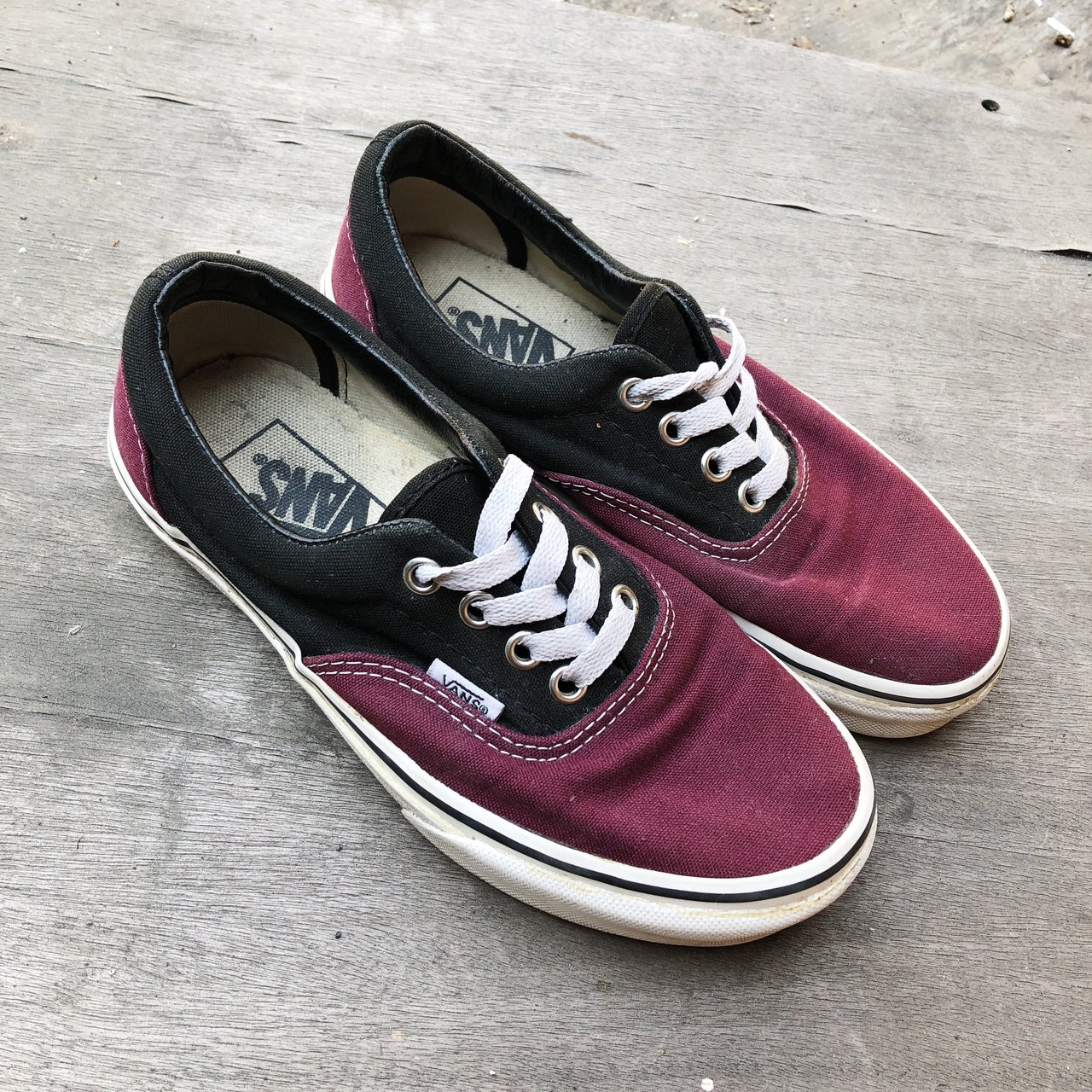002673a0b601d3 Maroon and Black two-toned classic Vans. Pre-loved but only - Depop