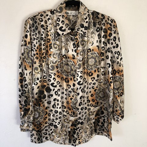 f00af9b6764b 90s sheer, abstract, leopard print and striped blouse with - Depop