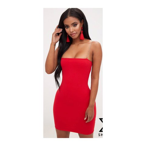 3a9c17943f7  personalluxury1. last year. United Kingdom. Pretty little thing Shape Red  Diamante Strap Bodycon Dress ...