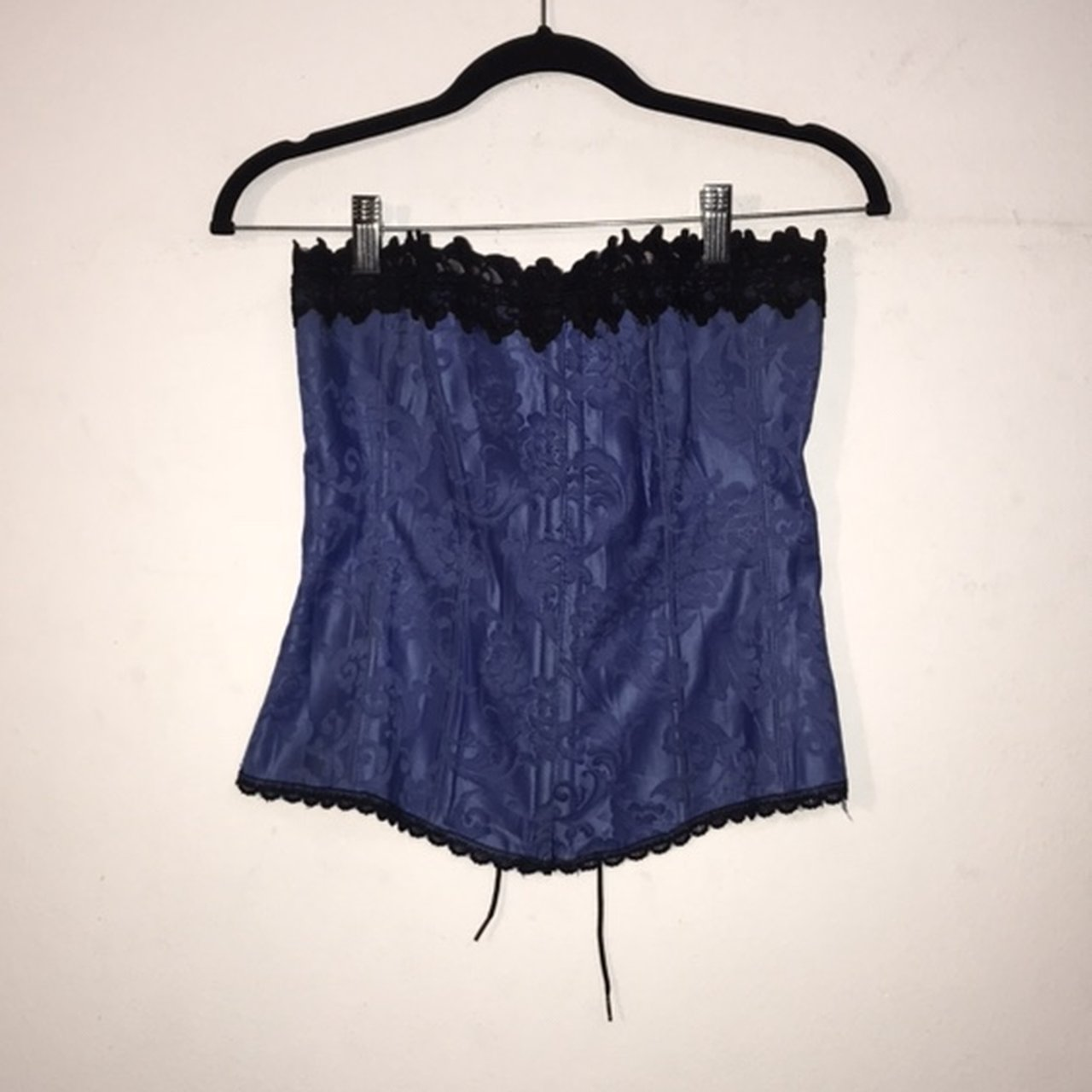 0cce82fabe  mmvtg. in 6 hours. United States. Vintage 80s Satiny blue and black lace  corset ...