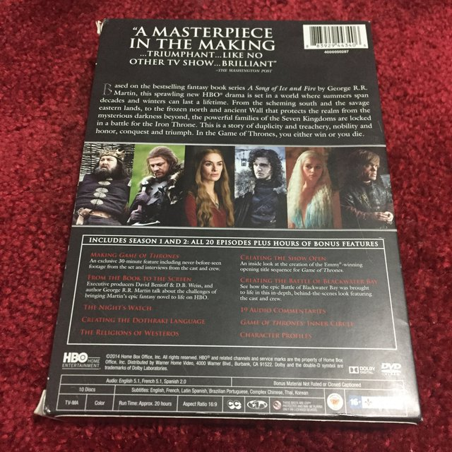 GAME OF THRONES DVD SET - First and Second Seasons     - Depop