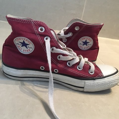 d5b5c27b64c7e3 burgundy high top converse 🔥 Women s U.K. 4 Shoes. Red. - Depop