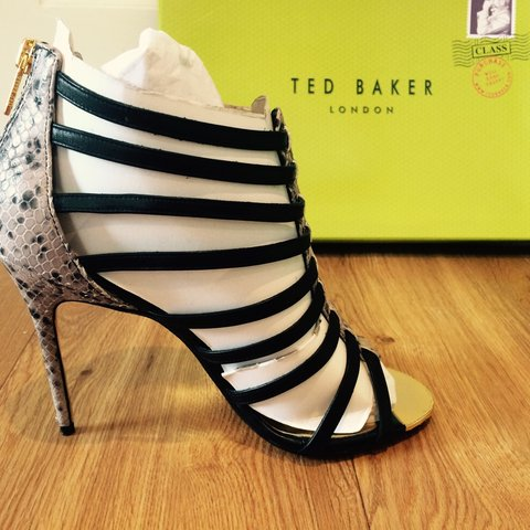 67f355a5ed3 Beautiful Ted baker strappy heels with a type of snake skin - Depop