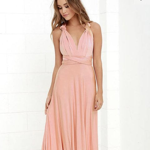 78b04440a2bc Lulu's satin blush maxi dress, it can be wrapped in many for - Depop