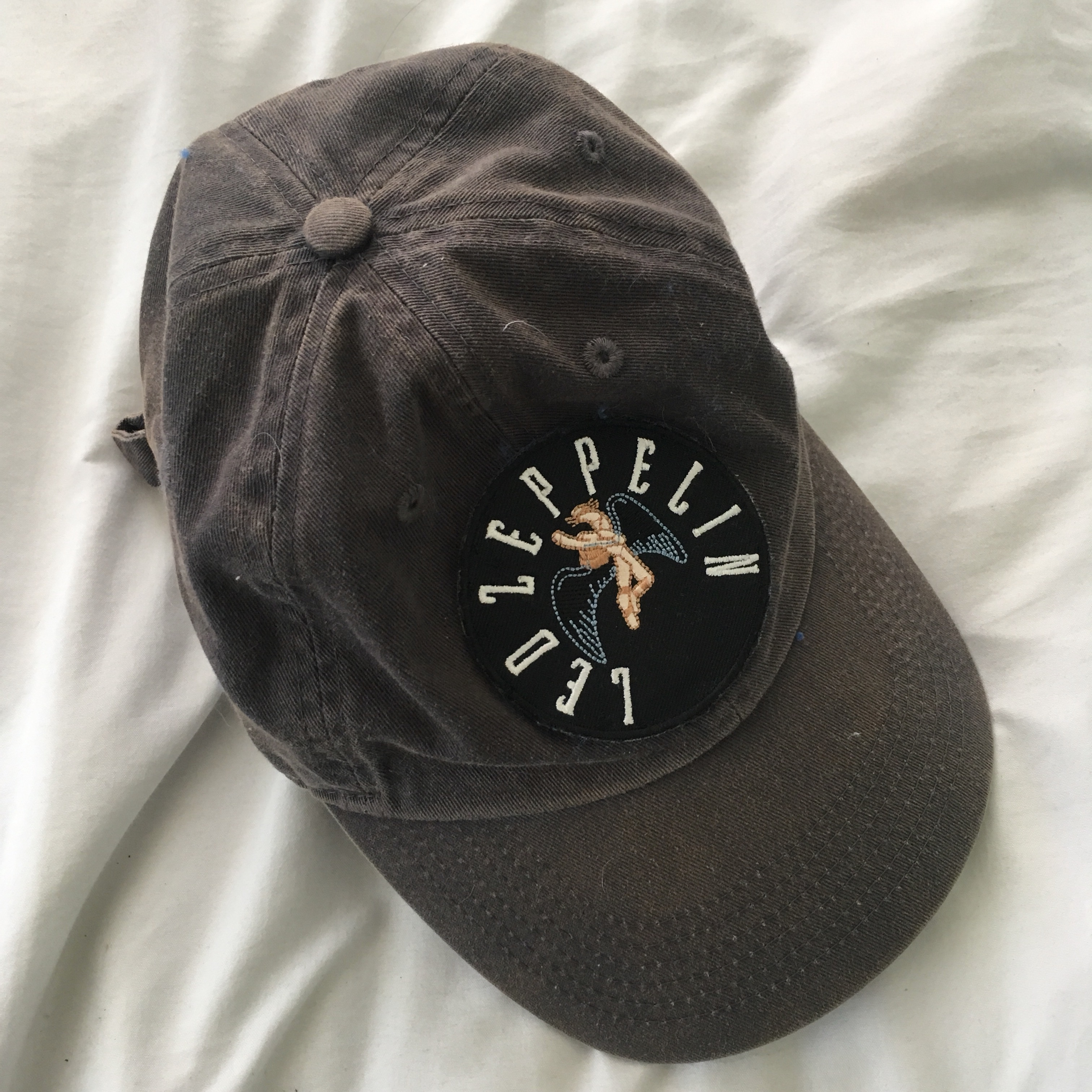 90981d457ed87 vintage baseball hat with a led zeppelin patch ⭐ bought i - Depop