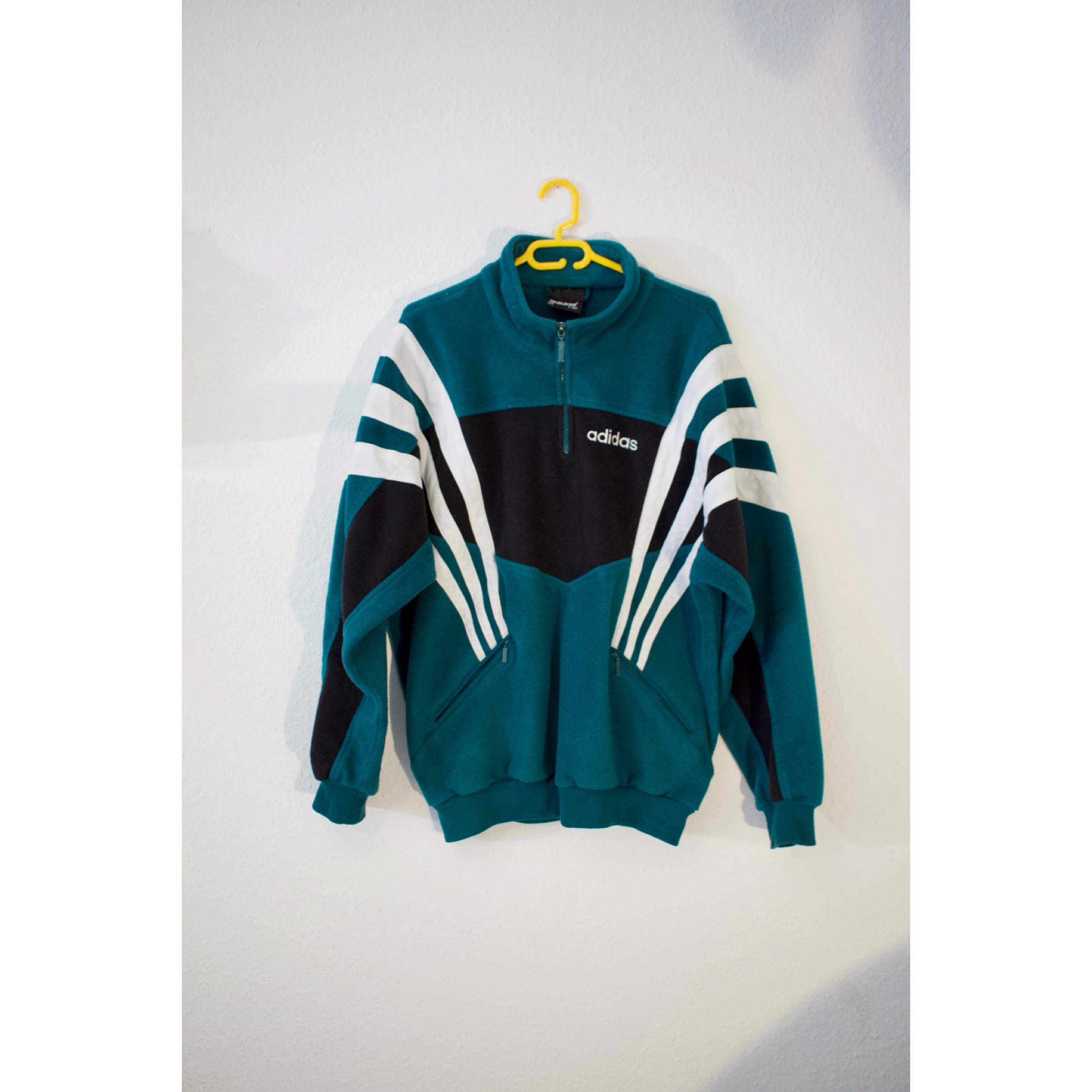 adidas 1/4 zip fleece green