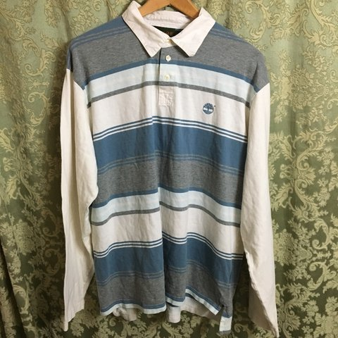 f33bade476 @thrifty0816. 7 months ago. Marlton, United States. 🔥Vintage blue, white,  and grey horizontal striped long sleeve ...
