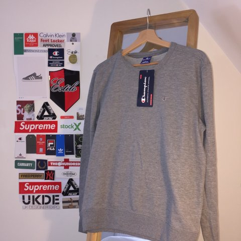 d4fabd69f6212e 🔥 Champion Heather Grey Crewneck Long-sleeve Sweatshirt 🔥 - Depop