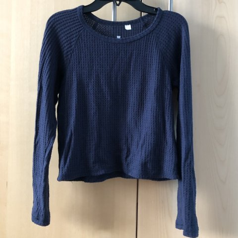 f300dcae3f pacsun me to we navy waffle knit cropped top super super n - Depop