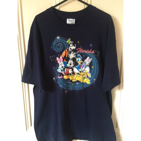 6e89d3c1 @char26. last year. Bristol, United Kingdom. Vintage Disney World Florida  navy t-shirt with original Disney characters - Mickey Mouse, Minnie ...