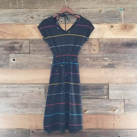 Amazing Vintage 80s Dress Black With Colorful Stripes To A Depop