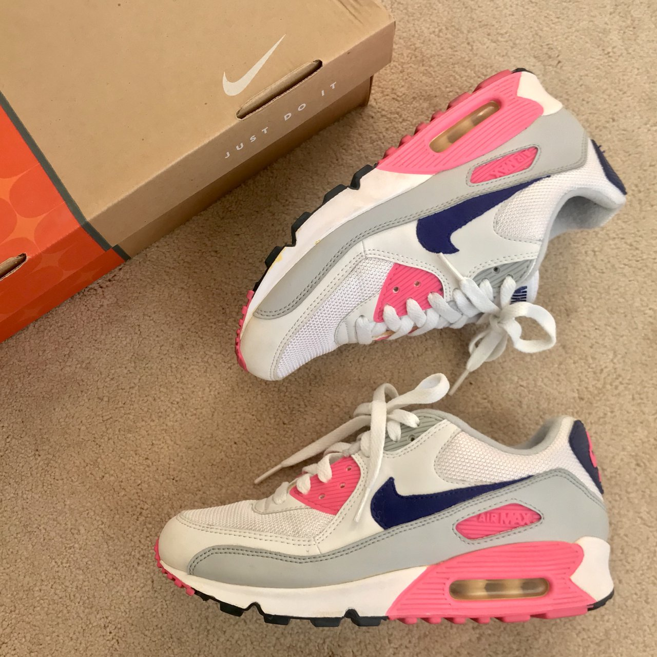 best service ab35f 2aaa7 NIKE WOMENS AIR MAX 90 CLASSIC CONCORD WHITE PINK a piece a - Depop