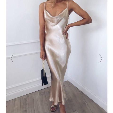 4b417490faefc @jojobinx. 7 months ago. Romford, United Kingdom. Pretty Lavish Keisha gold  satin slip dress ...