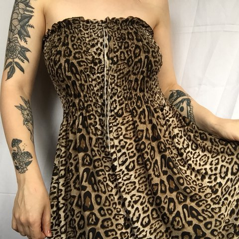 e2b88925f2 Floor length leopard print bandeau maxi dress ✨ 90 s scary - Depop