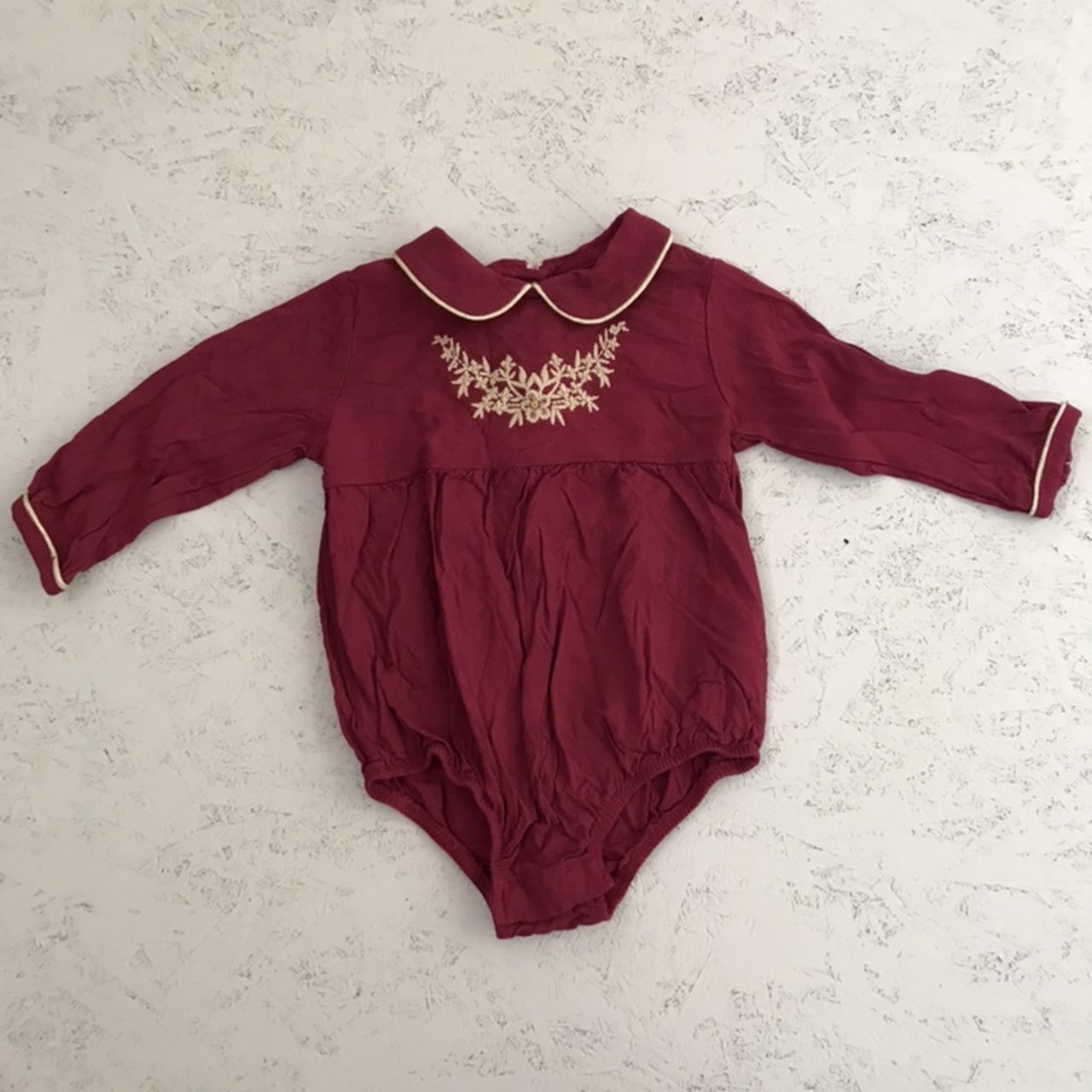aa188e8feb88 Mamas and papas embroidered romper with Peter Pan collar - - - Depop