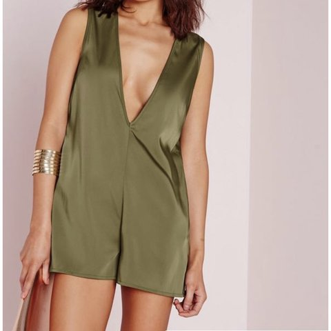 00761c7ef8e7 Khaki silk playsuit from Missguided