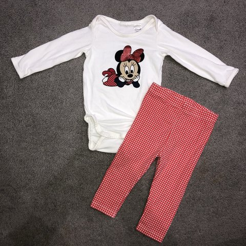 8e3e4e5f3 @hwx17. 9 months ago. Eastleigh, United Kingdom. Baby girls 6-9 months  Disney Minnie Mouse outfit set.