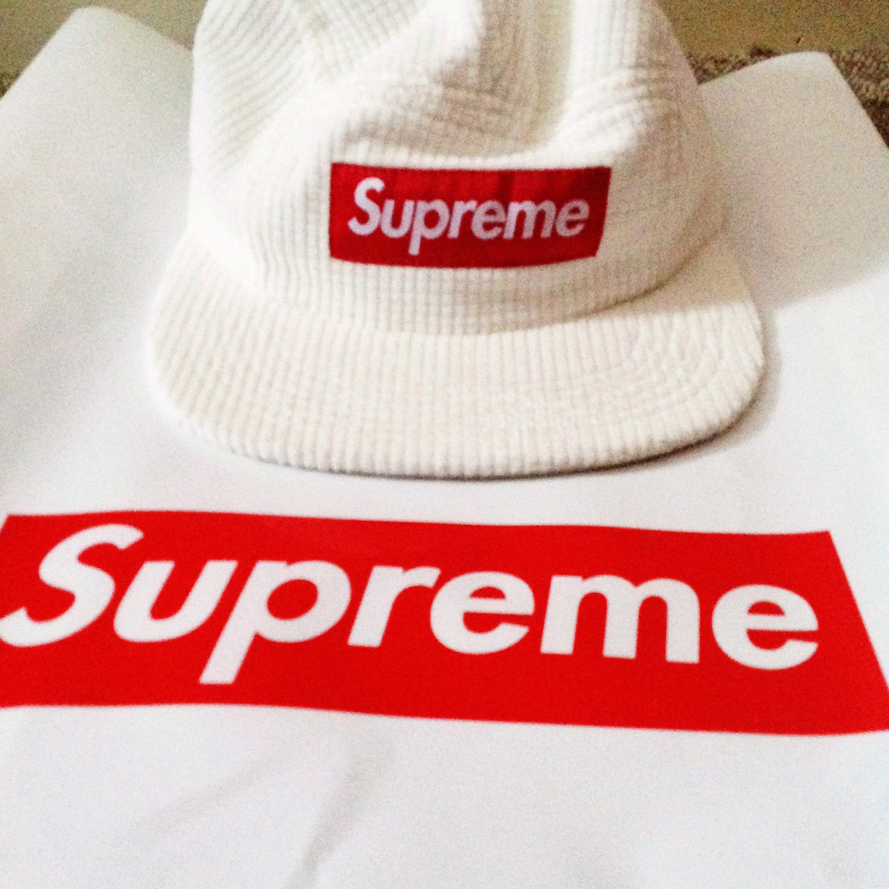 3f173ae641d Supreme hat🔥 (White) Waffle Conduroy Camp Deadstock Fits in - Depop
