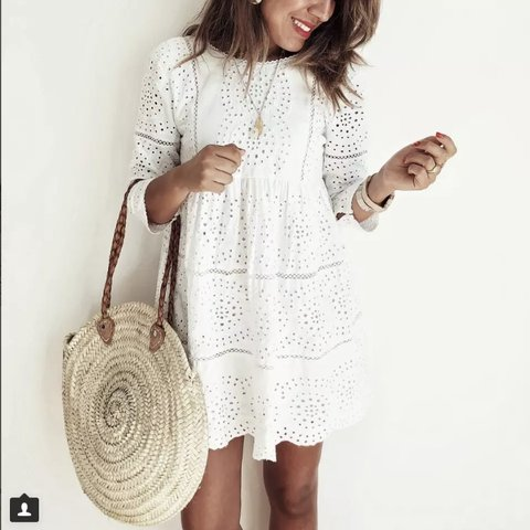 d772651ca9d5 Zara embroidered long sleeve white jumpsuit playsuit dress - Depop