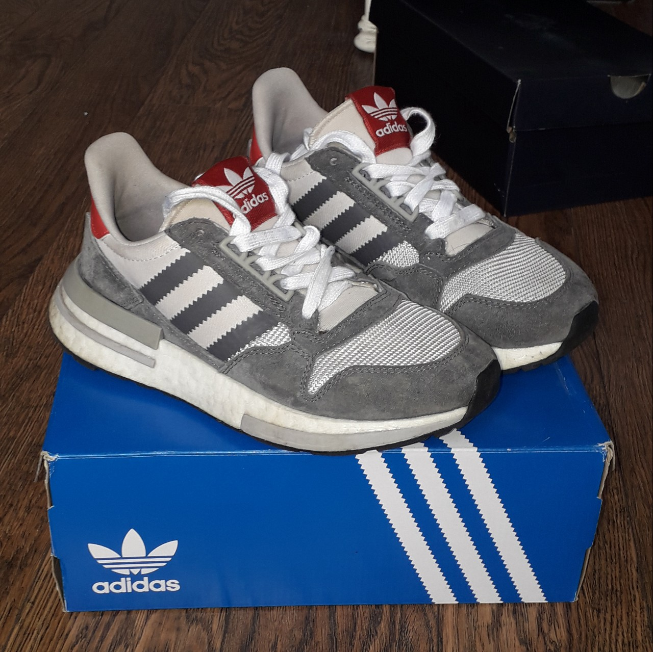 buy popular 44078 3028e Women's size 4 adidas zx500 boost grey white and... - Depop