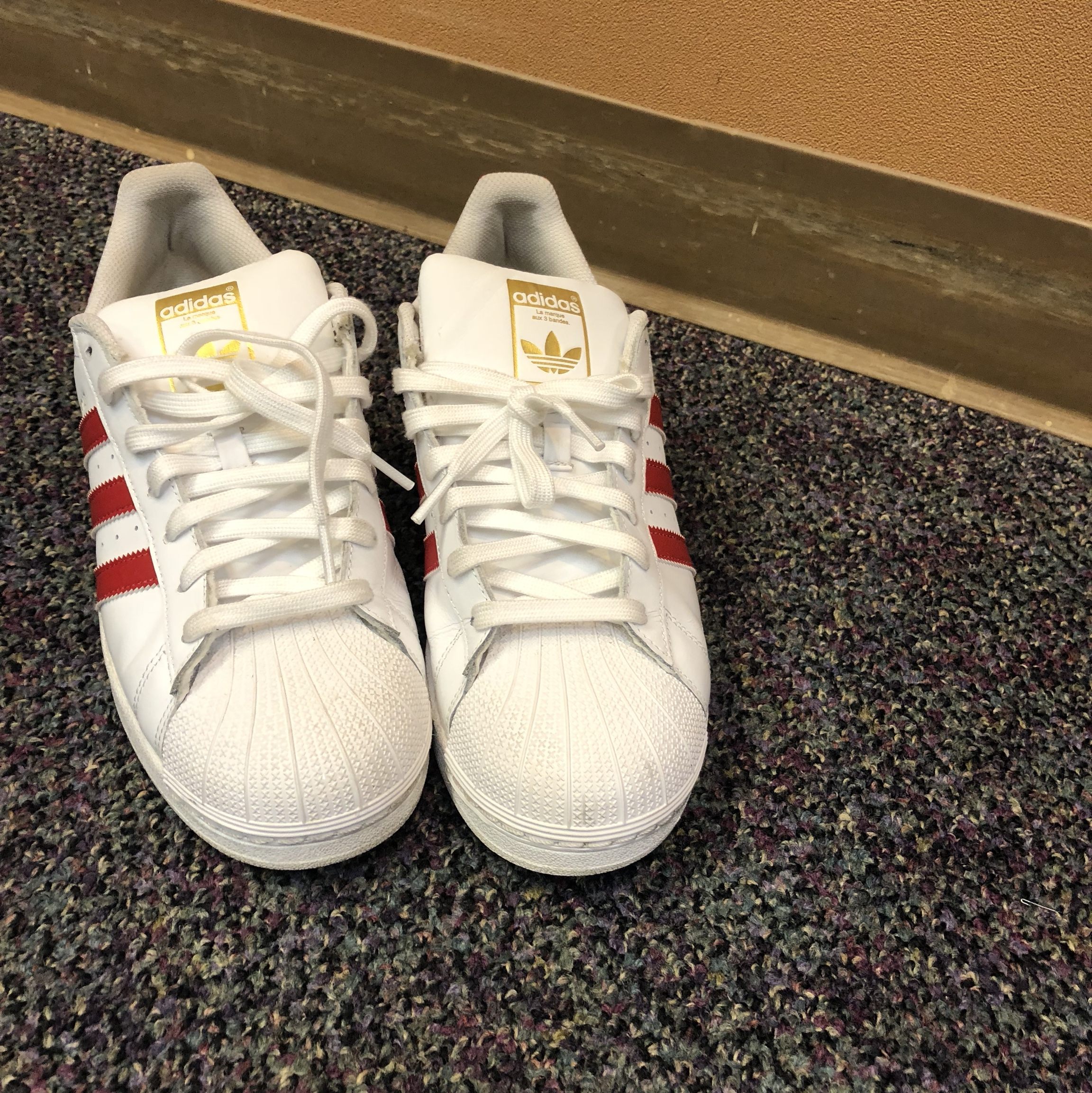 Red and White Adidas Superstar shell