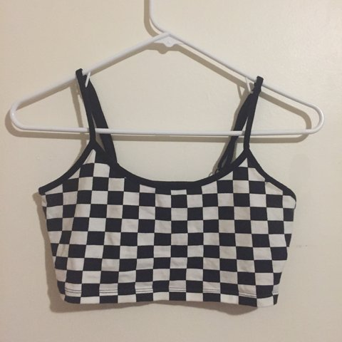 9172e521683139 Forever 21 black and white checkered crop top sports bra. a - Depop