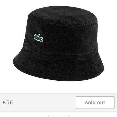 2ae4e1bb62c6d Supreme x Lacoste bucket hat Size m l Black Already from so - Depop