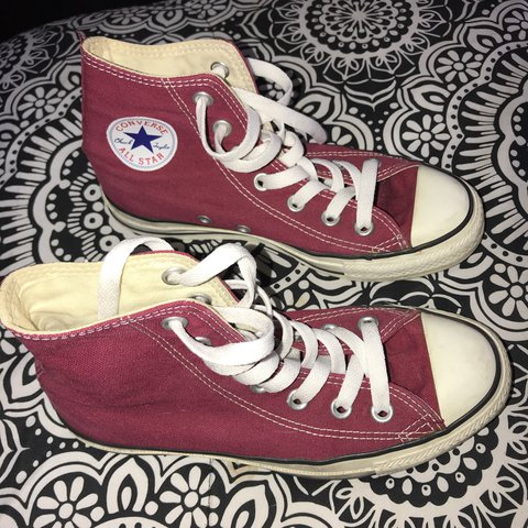 b114c13f4f9de1 Burgundy Converse Shoes Says size 3 but fits more like a 5.5 - Depop