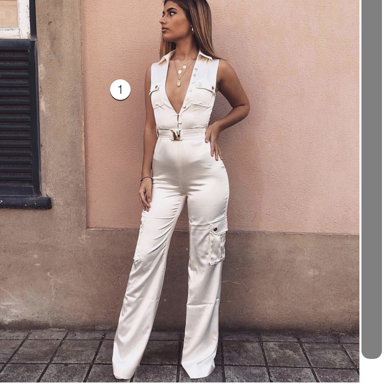 official store get cheap competitive price meshki jada satin jumpsuit ivory , size 6 worn once.... - Depop
