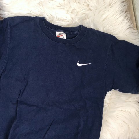 0f19870b Vintage!! nike embroidered swoosh t-shirt in navy blue. Rare - Depop