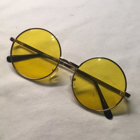 2fef0cc865f35 YELLOW TINTED CIRCLE GLASSES condition   BRAND  sunglasses - Depop